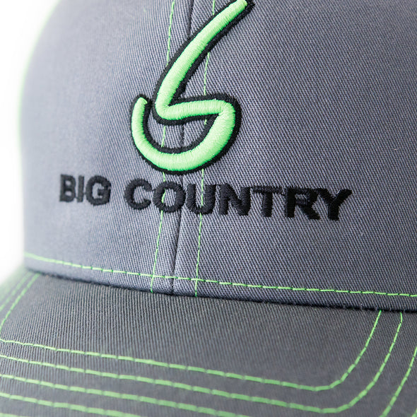 Big Country 6 Panel Retro Trucker - Graphite/Neon Green