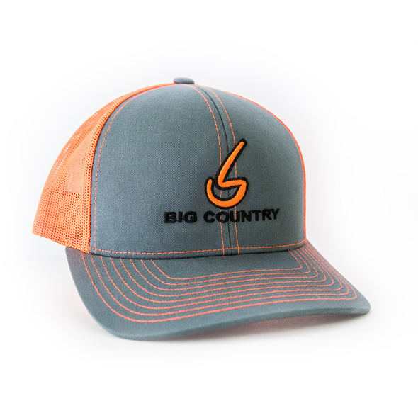 Big Country 6 Panel Retro Trucker - Graphite/Neon Orange