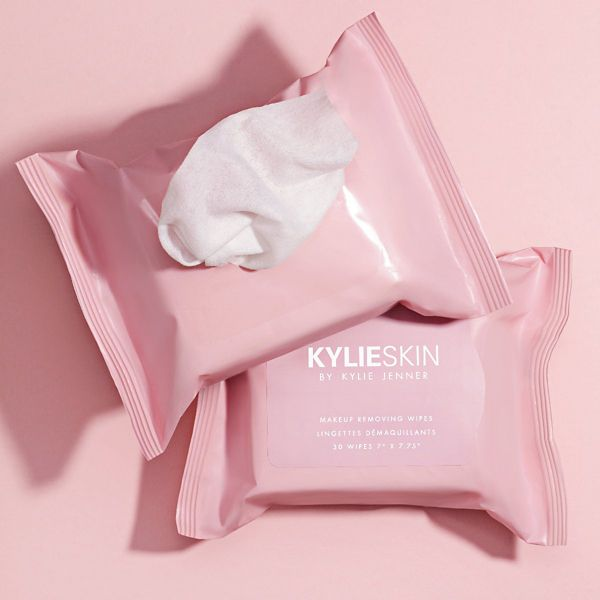 Open package of Kylie Skin Makeup Removing Wipes