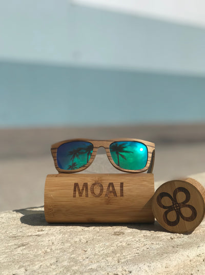 Visionary Zebra Wood Sunglasses with Green Polarized Lens