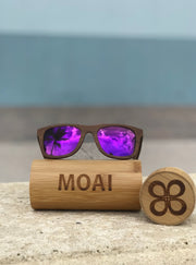 Visionary Walnut Wood Sunglasses with Purple Polarized Lens