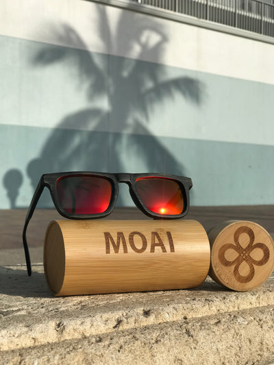 Visionary Black Grain Bamboo Sunglasses Red Polarized Lens