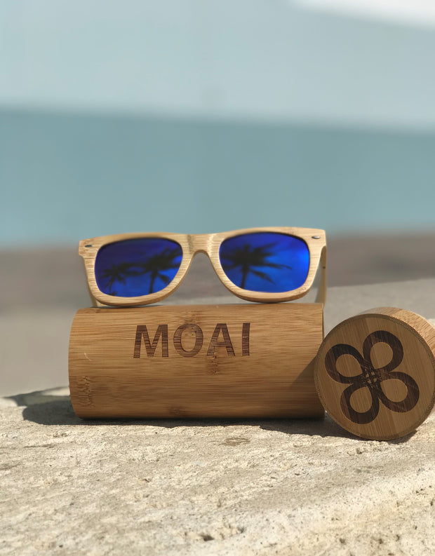 Visionary Bamboo Sunglasses with Blue Polarized Lens