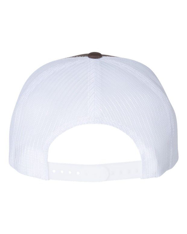 Unisex Brown White Flat Bill Trucker Hat