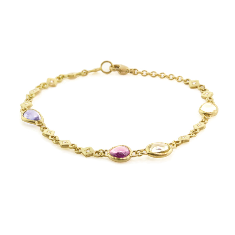 STAINED GLASS SAPPHIRE LINK BRACELET