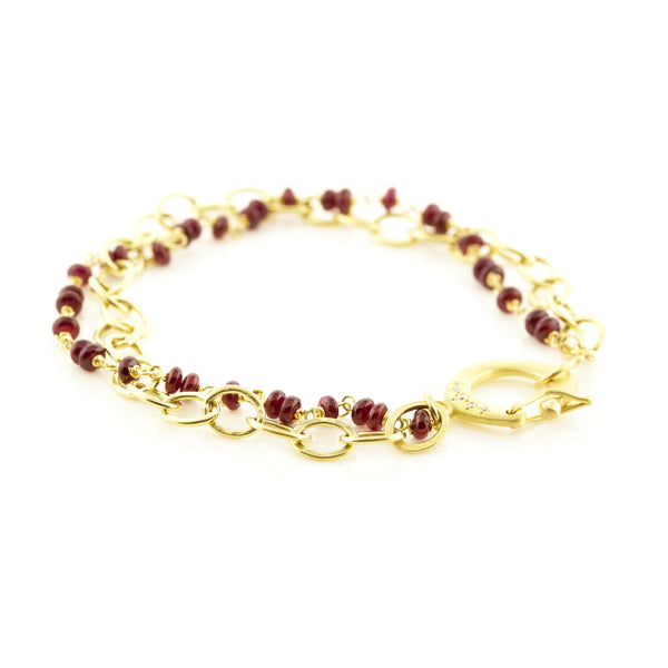 RUBY BEADED SNAP CLASP