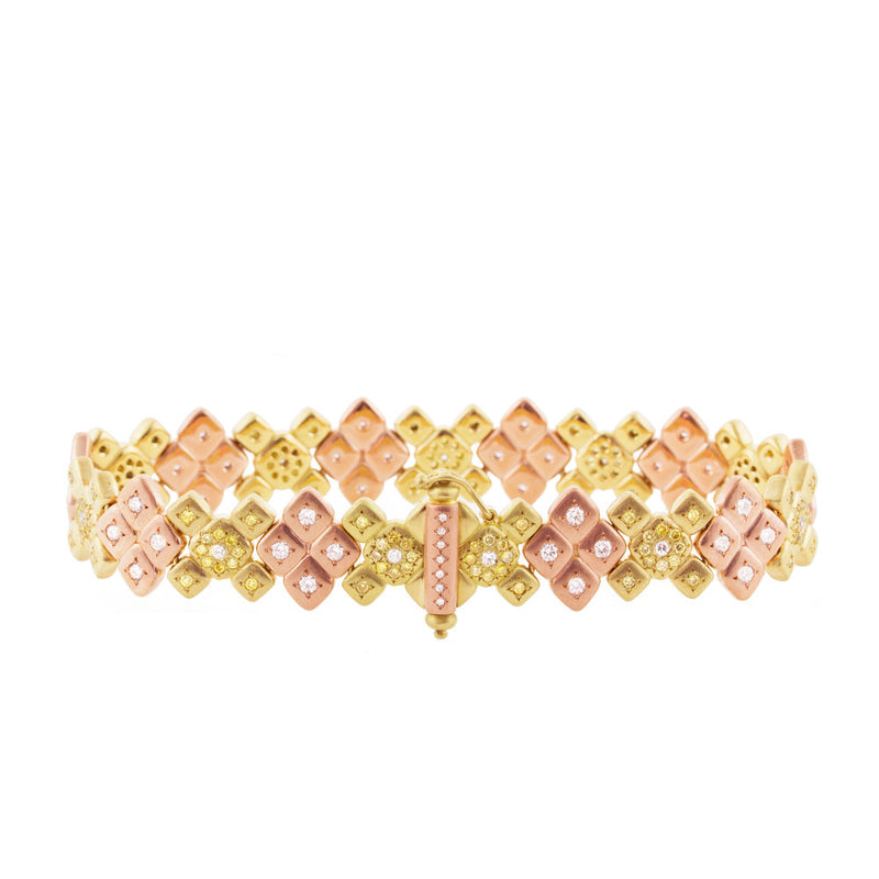 PINK AND YELLOW GOLD MOSAIC CLUSTER BRACELET