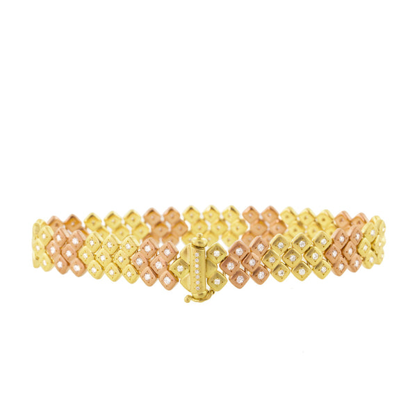 PINK AND YELLOW GOLD MOSAIC BRACELET