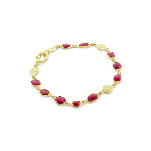RUBY AND FLORET CHARM BRACELET