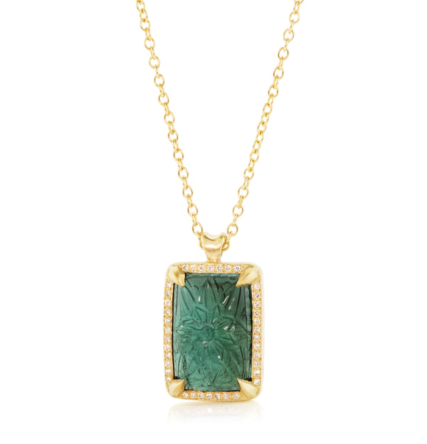 CARVED GREEN TOURMALINE PENDANT
