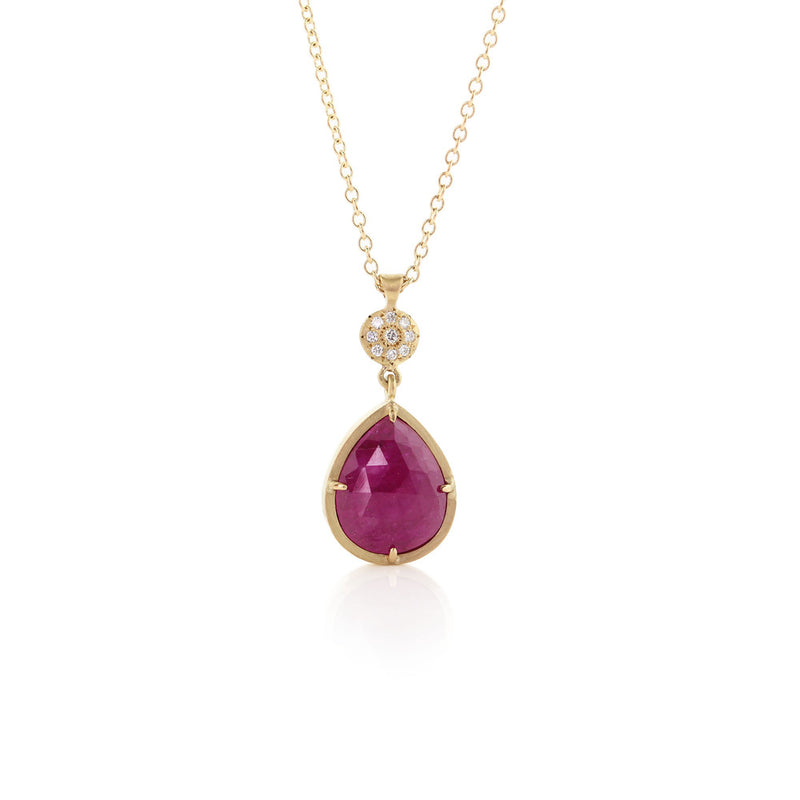 PRONG SET RUBY DROP PENDANT WITH CHARM