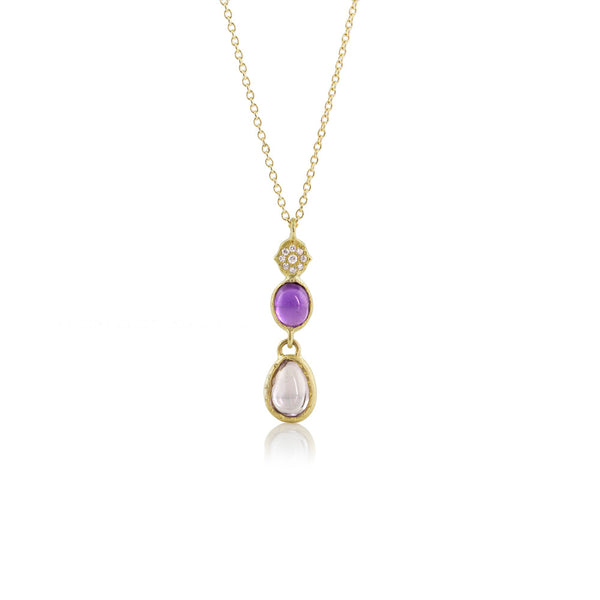 GRACE CHARM STAINED GLASS SAPPHIRE DROP PENDANT