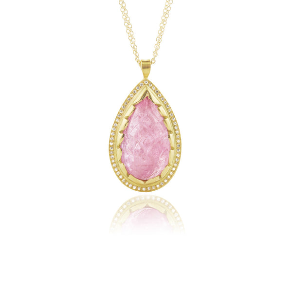 CARVED PINK TOURMALINE AND DIAMOND PENDANT
