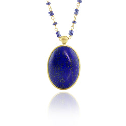 LAPIS AND SAPPHIRE BEADED NECKLACE