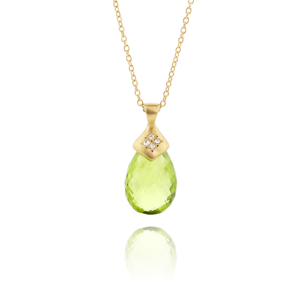 Faceted Peridot Drop Pendant