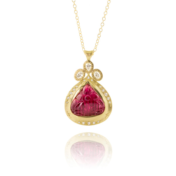 Carved Rubellite and Diamond Pendant