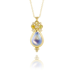 Tear Moonstone Pendant with Yellow Diamonds