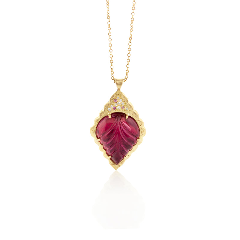 Carved Pink Tourmaline Pendant