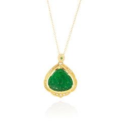 FLORAL CARVED EMERALD PENDANT