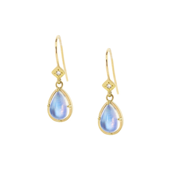 Moonstone Tear Earrings with Prongs