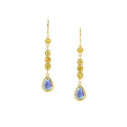 Yellow Diamond and Moonstone Drop Earrings