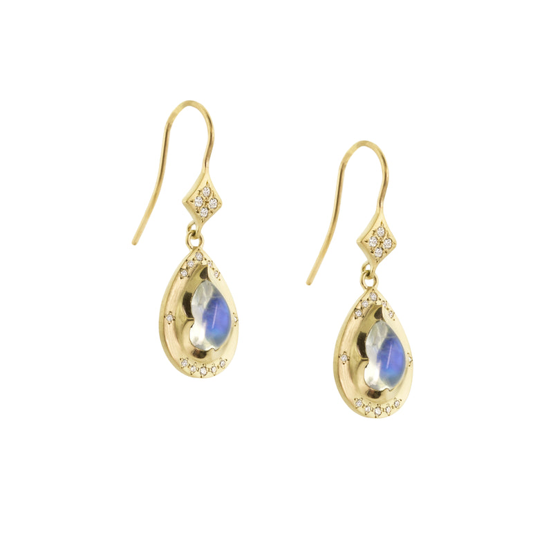 Summer Night Moonstone Tear Earrings