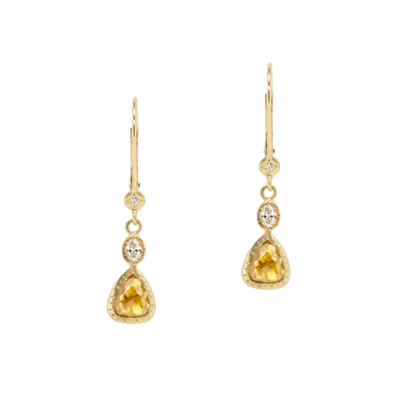 YELLOW DIAMOND TEAR EARRINGS