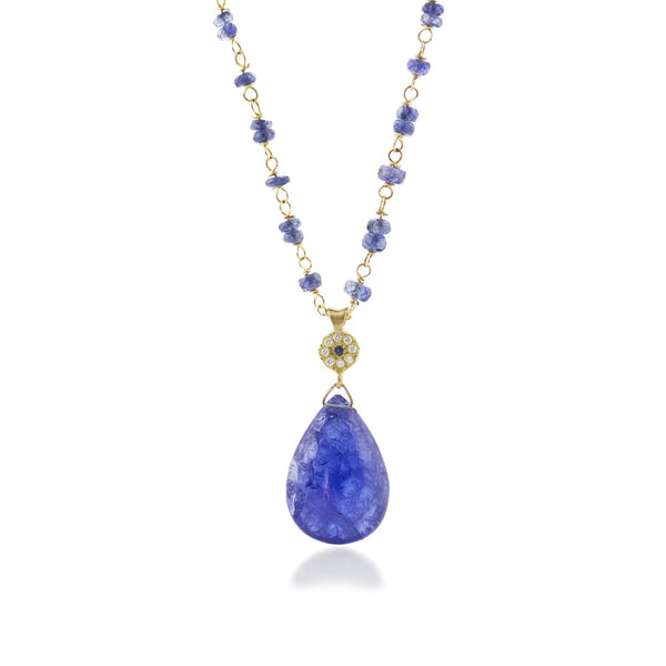 TANZANITE DROP NECKLACE WITH CHARM