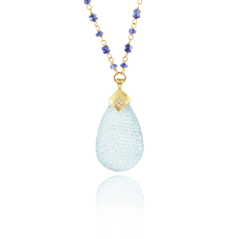 Carved Aquamarine on Sapphire Beaded Necklace