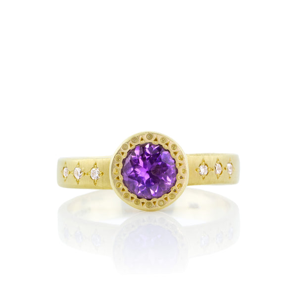 Purple Sapphire Etched Bezel Ring
