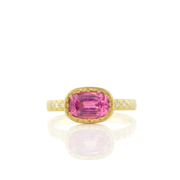 RECTANGULAR BEADED PINK SPINEL