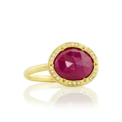 ORGANIC ROSE CUT RUBY HALO RING