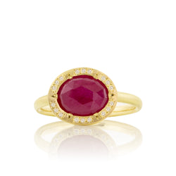 Organic Ruby Halo Ring