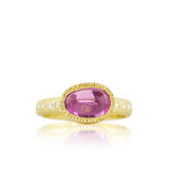 Oval Pink Stained Glass Sapphire Ring