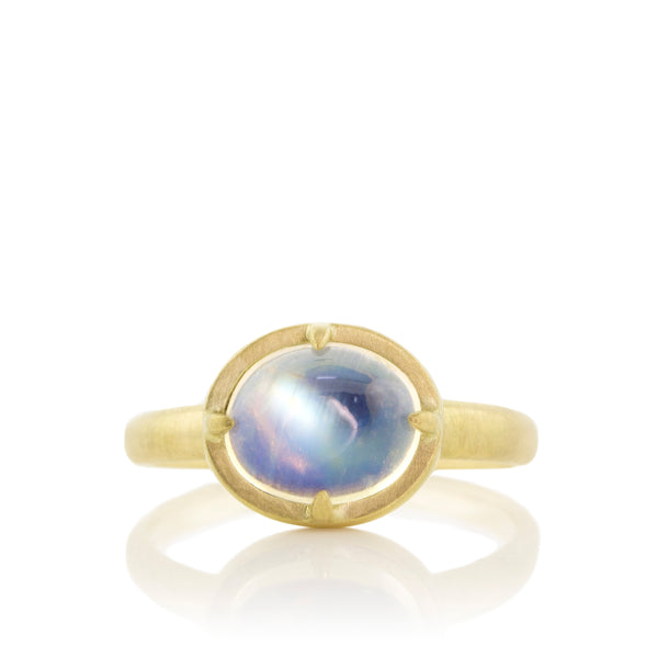 Horizontal Moonstone Prong Ring