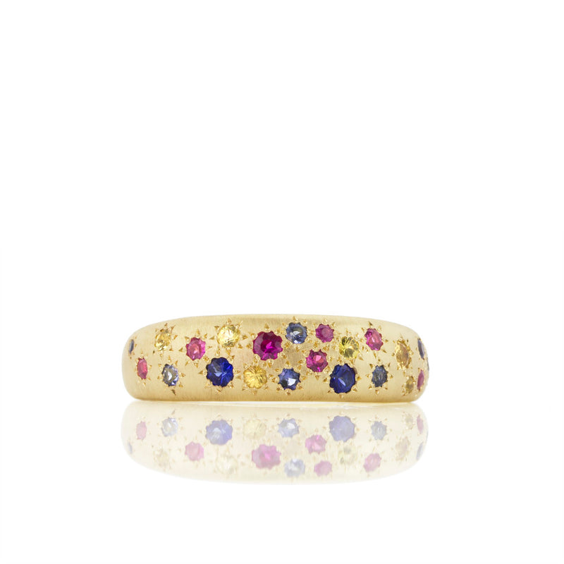 TAPERED MULTI SAPPHIRE BAND