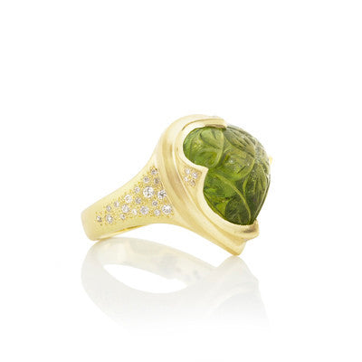 CARVED GREEN TOURMALINE IN DIAMOND CROWN SETTING