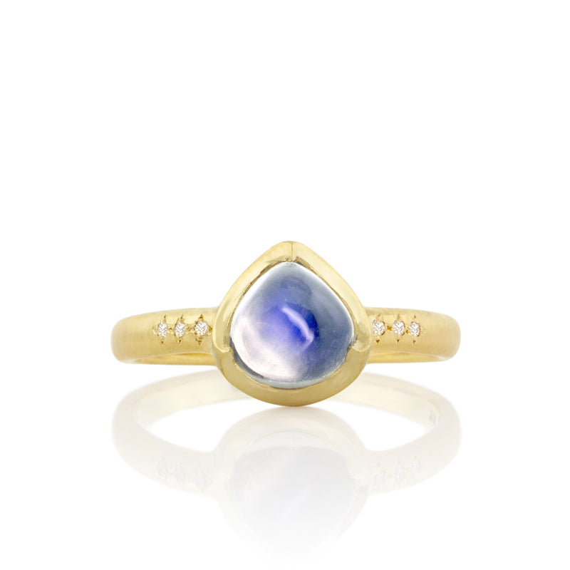CROWN SET TEARDROP MOONSTONE RING