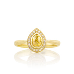 Yellow Diamond Tear Ring with Halo