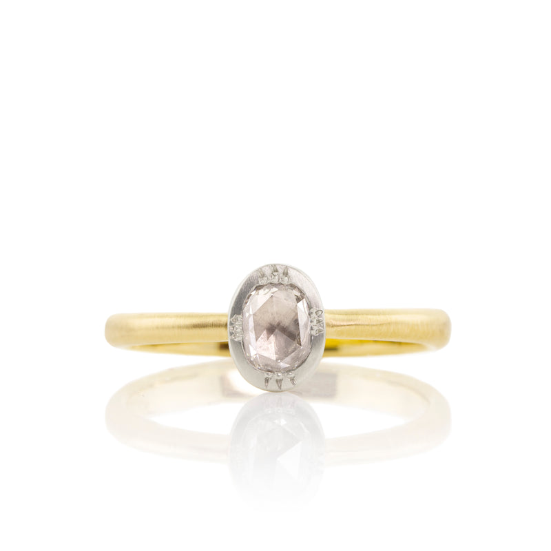 Two Tone Vertical Set Rosecut Diamond Ring