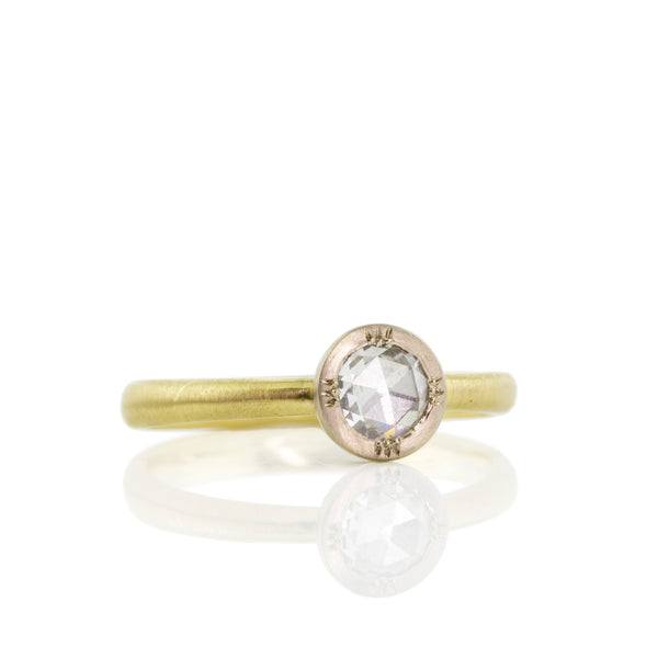 Two Tone Round Rose Cut Ring