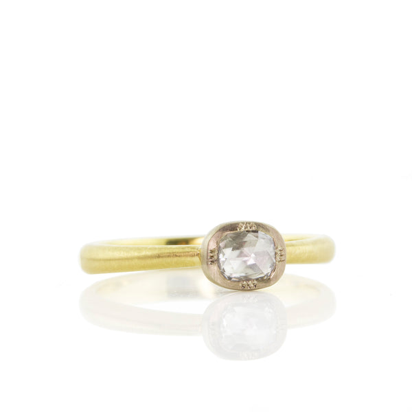 Two Tone Cushion Rose Cut Ring