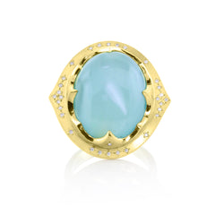 AQUAMARINE CROWN RING