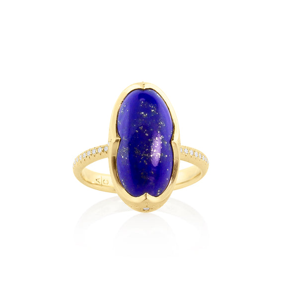 OVAL LAPIS CROWN RING
