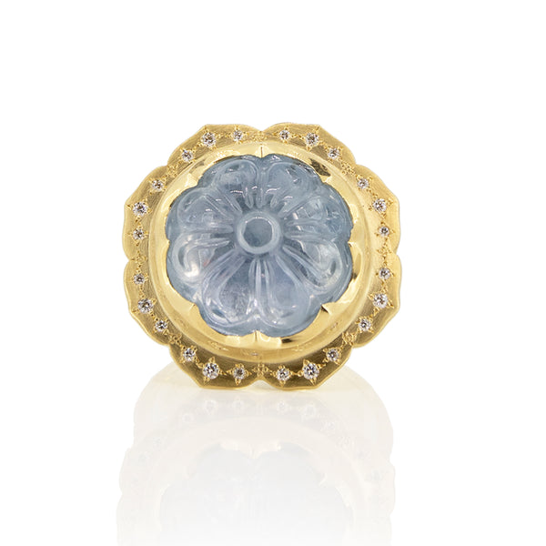 Carved Sapphire Flower Ring