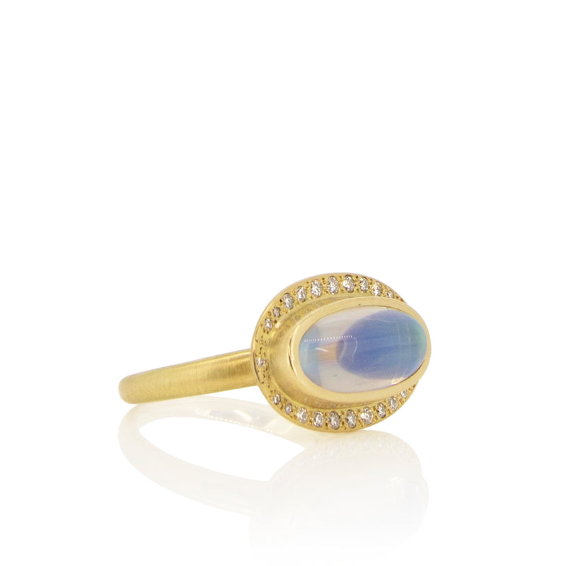 OVAL HALO MOONSTONE RING