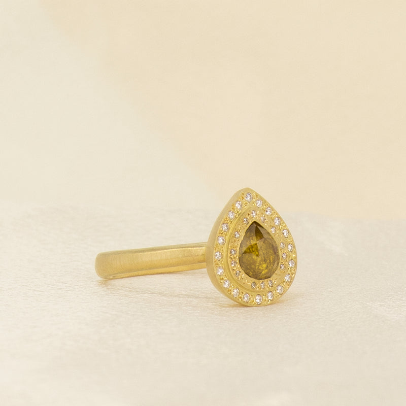 DOUBLE HALO YELLOW DIAMOND TEAR RING