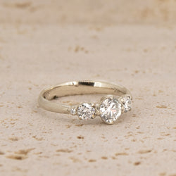 Rosebud Three Stone Ring