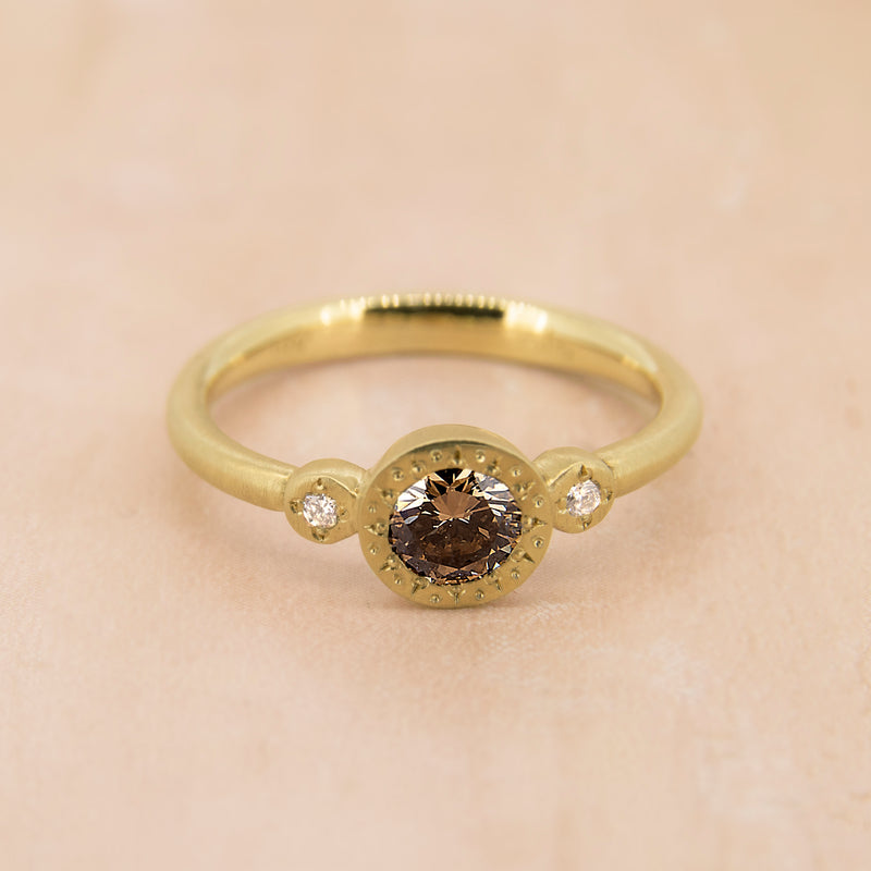 ETCHED ROUND CHAMPAGNE DIAMOND RING
