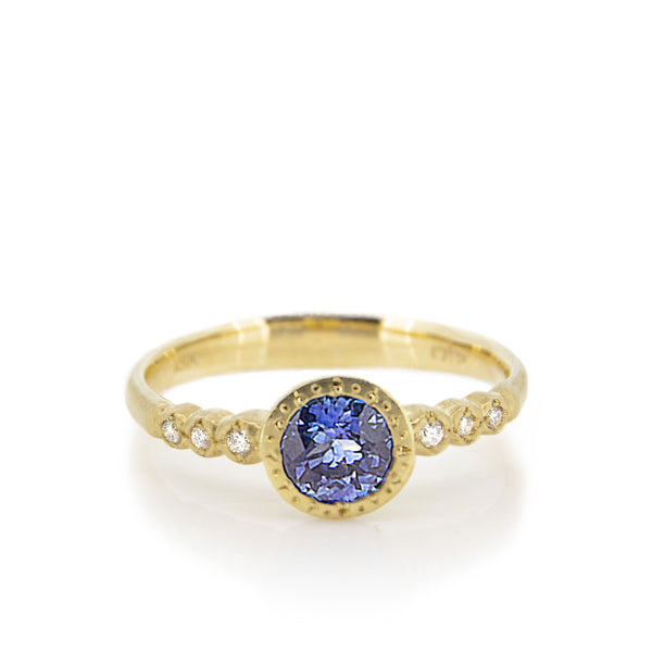 ETCHED BEZEL SAPPHIRE RING